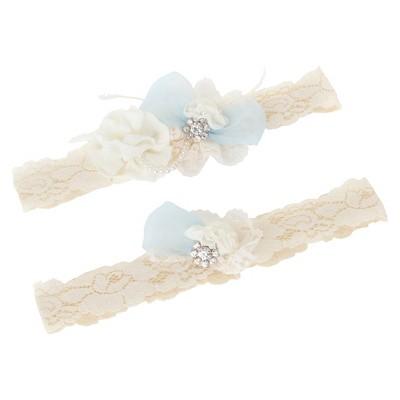 Vintage Cream Bridal Garter Set - Large