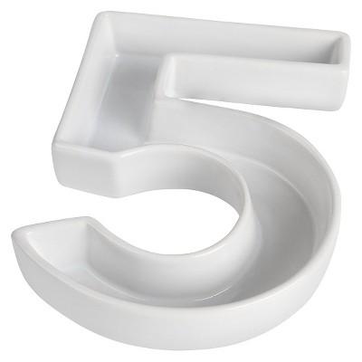 White Ceramic Number Dish - 5