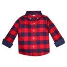 Toddler Boys' Long Sleeve Buffalo Check Button-Down Shirt - Red/Navy