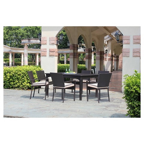 Harrison Wicker 9 Piece Extendable Patio Dining Set Tar