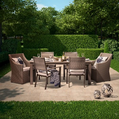 Premium Edgewood 7-Piece Wicker Patio Dining Set - Smith & Hawken™
