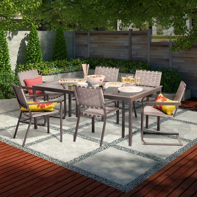 Blake 7-Piece Metal Woven Strap Patio Dining Set - Threshold™