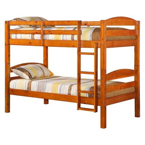 Walker Edison Solid Wood Bunk Bed Medium Gold Tar