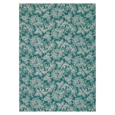 Waverly Floral Flatweave Area Rug - Blue (5'x7')