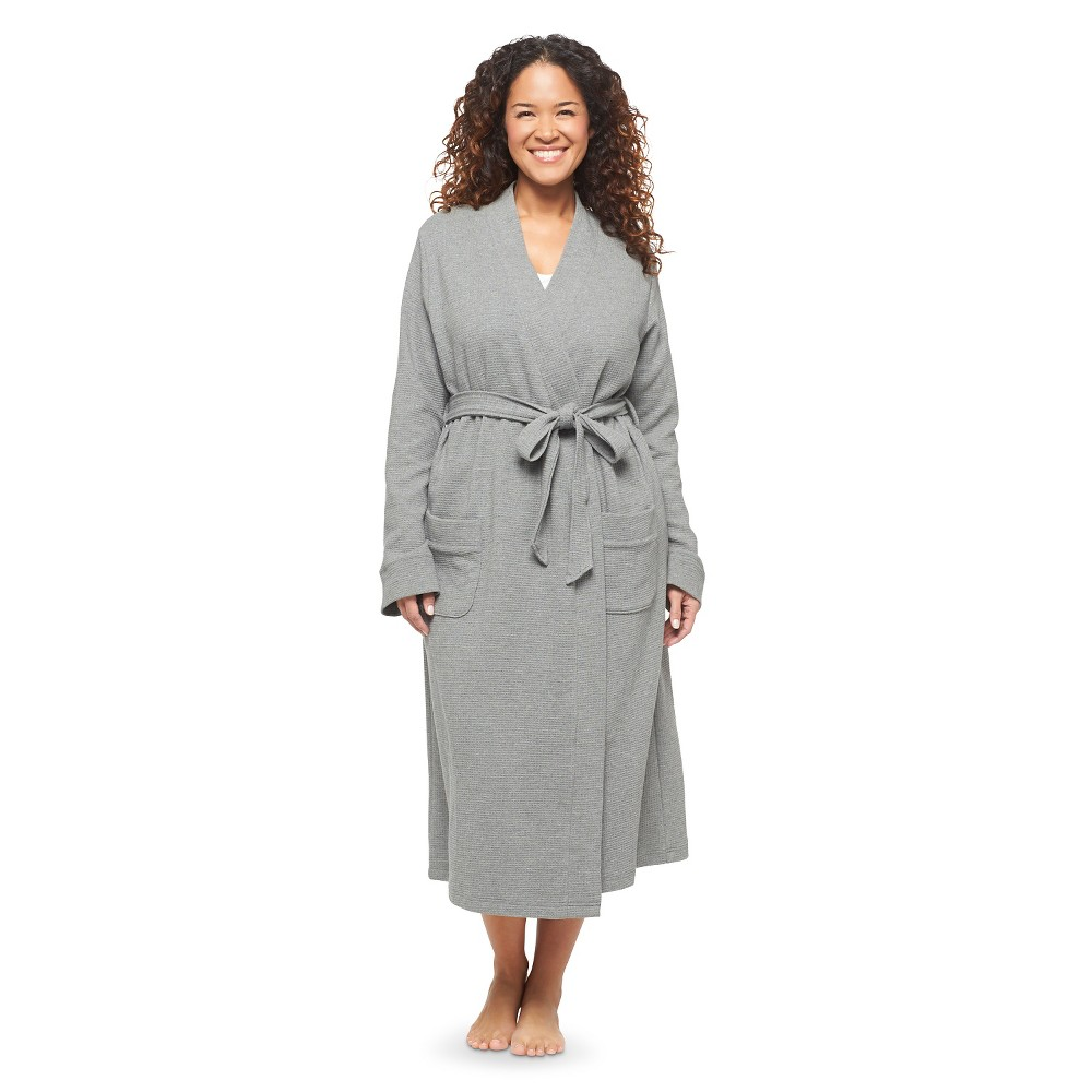 Women s Plus Size Waffle Knit Robe Heather Gray - Gilligan & O Malley