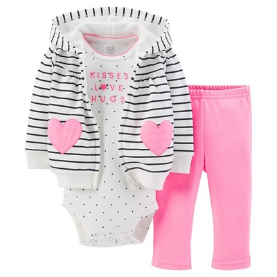 Just One You™Made by Carter's® Newborn Girls' 3 Piece Hearts Cardigan Set - Pink 12 M