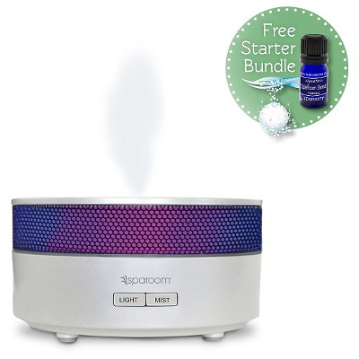SpaRoom Aroma Mist Oil Diffuser - White (includes free Essential Oil and Klenzor Diffuser Cleansing Capsules)