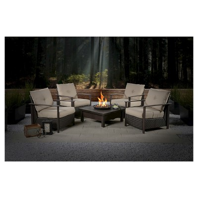 Larkspur 5-Piece Wicker Patio Fire Pit Set
