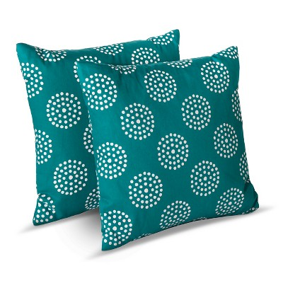 Room Essentials™ 2-Pk Circle Dots Toss Pillows - Teal