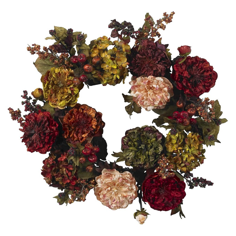 "Nearly Natural 22"" Autumn Hydrangea Peony Wreath"