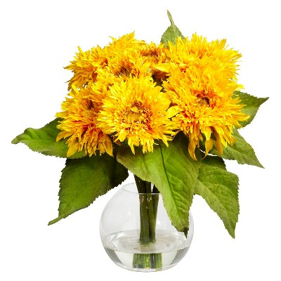 Nearly Natural Golden Sunflower Arrangement
