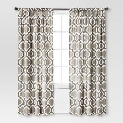 Threshold™ Linen-Look Fretwork Curtain Panel