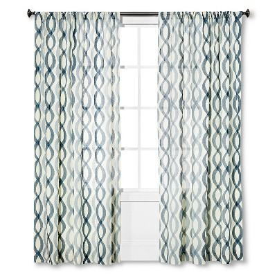 "Threshold™ Semi Sheer Prints Wavy Lines Curtain Panel - Light Cream/Washed Blue/Sandoval Blue (95"")"