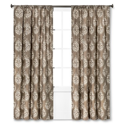 "Threshold™ Paisley Curtain Panel - Gray Stone/Brown Linen/Sour Cream (95"")"