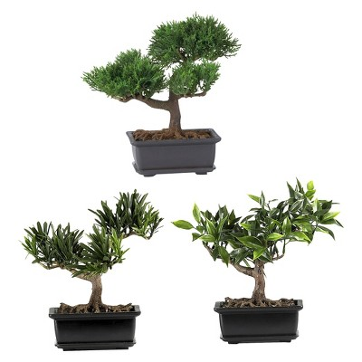 Nearly Natural 8.5  Bonsai Silk Plant Collection (Set of 3)