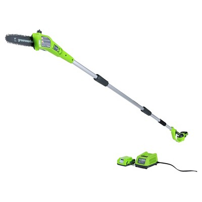 """Greenworks G24 24V  Cordless 8"""" Bar and Chain Pole Saw - with 2.0Ah Battery and Charger"""