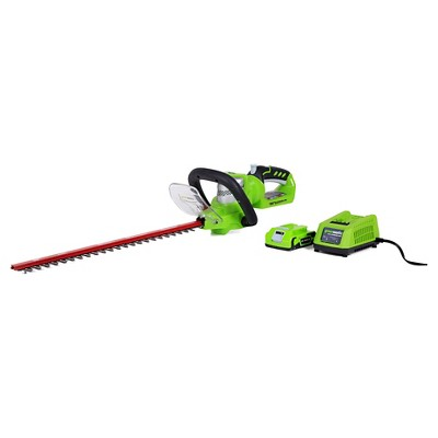 "Greenworks G24 24V Cordless 22"" Hedge Trimmer with 2.0AH Battery and Charger"