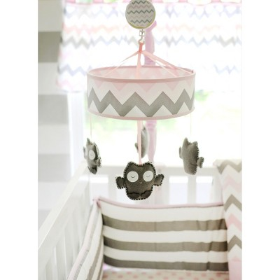Chevron Baby in Pink/Gray Mobile