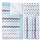 My Baby Sam Chevron Baby Crib Bedding Set Aqua/Gray 3-Piece