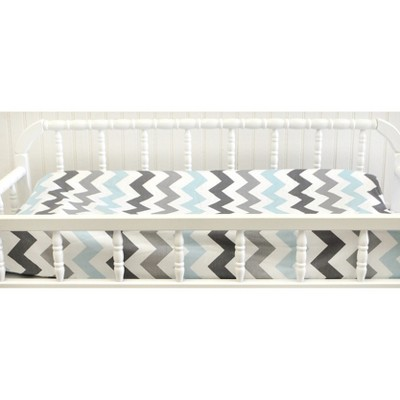 My Baby Sam Chevron Baby Changing Pad Cover Aqua/Gray