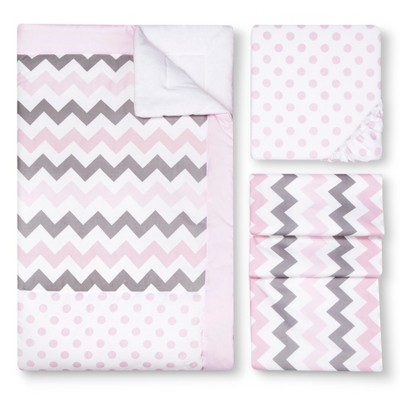 My Baby Sam Chevron Baby Crib Bedding Pink/Gray 3pc
