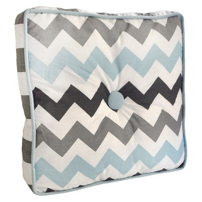 My Baby Sam Chevron Baby Throw Pillow Aqua/Gray