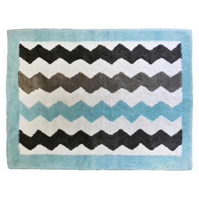 My Baby Sam Chevron Baby Rug Aqua/Gray