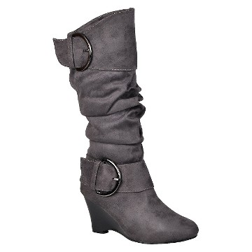 Women's Journee Collection Suede Buckle Wide Calf Boots