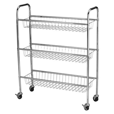 Household Essentials® 3 Basket Storage Cart - Silver