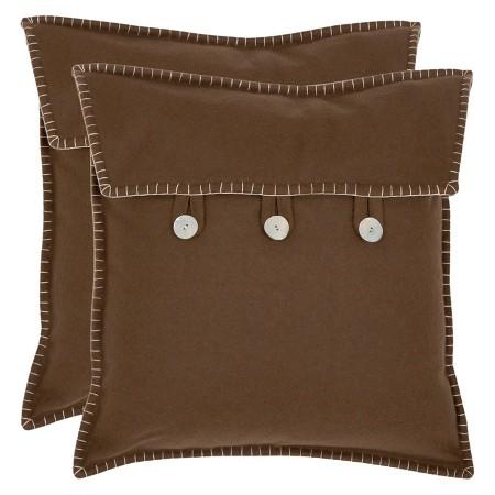 Throw Pillow Button Closure : Safavieh 2 Pack Button Closure Throw Pillow - Brown : Target