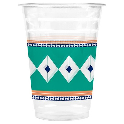 Cheeky® 16 oz. Beverage Clear Cups - Green  and Blue Diamonds with Orange - 24 count