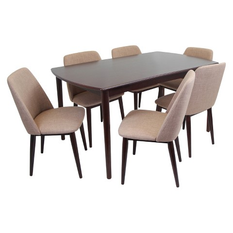 Lumisource 7 Piece Tintori Dining Table Set Espresso Product Details