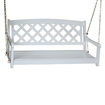 International Concepts X-Back Wood Porch Swing - White