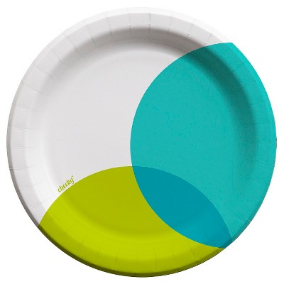 Cheeky 9 inch Paper Plates Aqua & Lime Overlap
