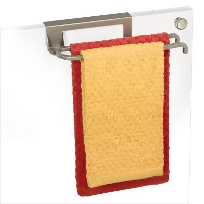 Lynk Over Cabinet Door Organizer - Pivoting Towel Bar - Satin Nickel