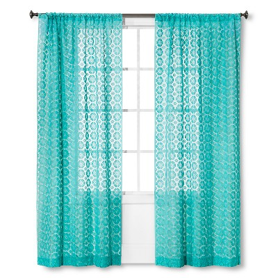 "Xhilaration™ Sheer Curtain Panel Crochet Shell - Sunbleached Turq (84"")"