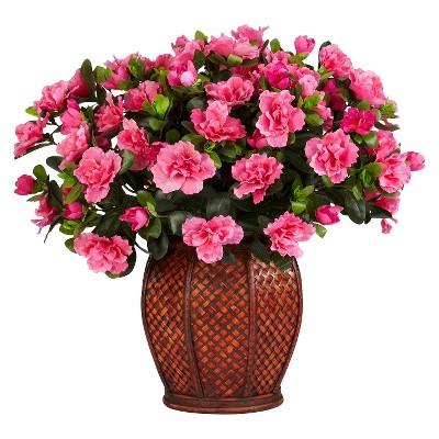 Nearly Natural Azalea w/Vase Silk Plant
