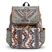 Women's Geometric Eagle Print Drawstring Backpack - Multicolor