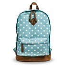 Women's Polka Dot Canvas Backpack - Blue