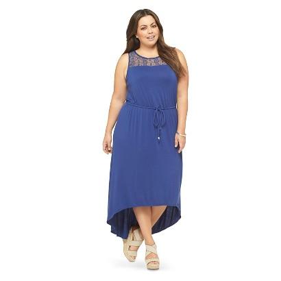 Women's Plus Size Sleeveless Lace Accent Maxi Dress Blue -Ava & Viv