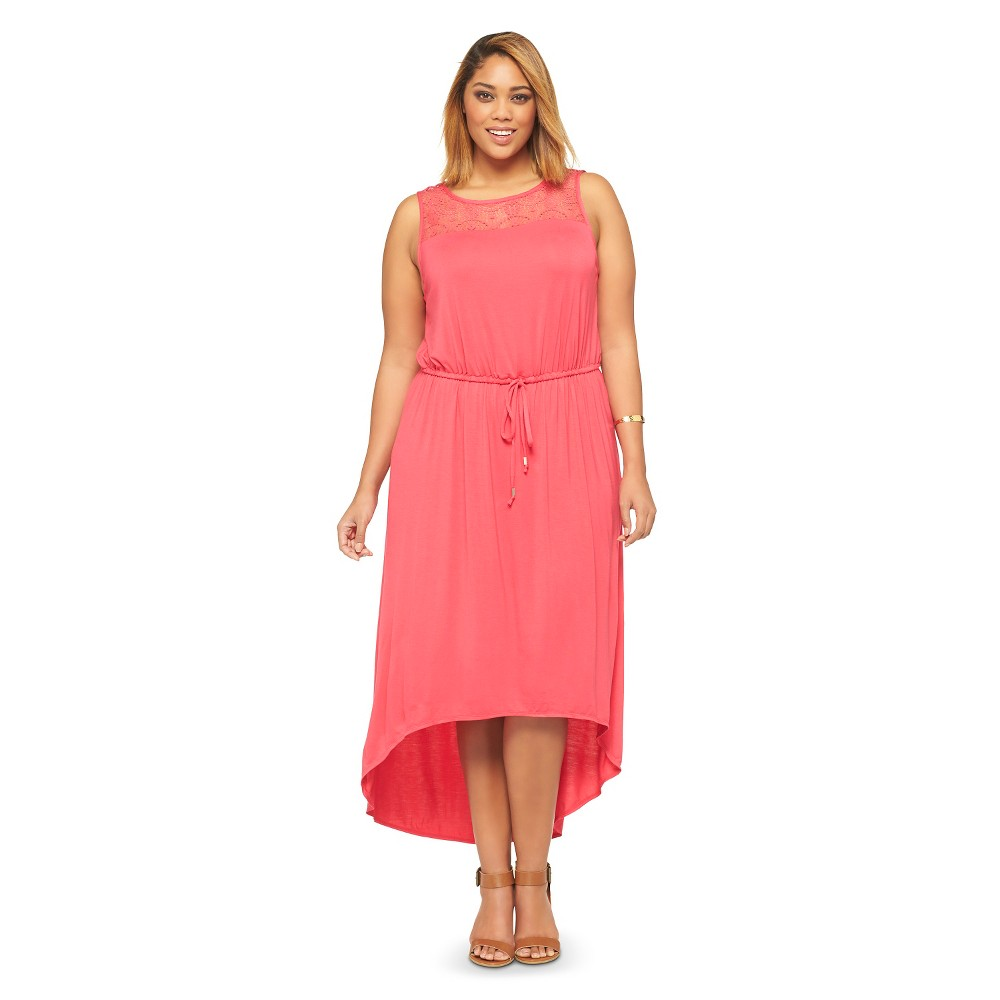 Women's Plus Size Sleeveless Lace Accent Maxi Dress Pink Ava & Viv