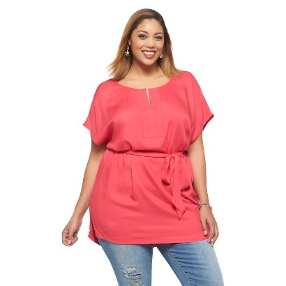 Women's Plus Size Short Sleeve Woven Top Pink 1X-Ava & Viv