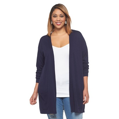 Women's Plus Size Long Sleeve Cardigan Sweater Navy 3X-Ava & Viv