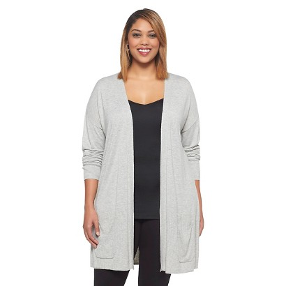 Women's Plus Size Long Sleeve Cardigan Sweater Light Gray X-Ava & Viv