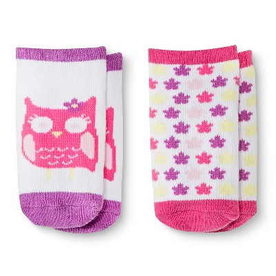 Baby Girls' 2-Pack Low-Cut Owl Socks - Pink 0-6 M