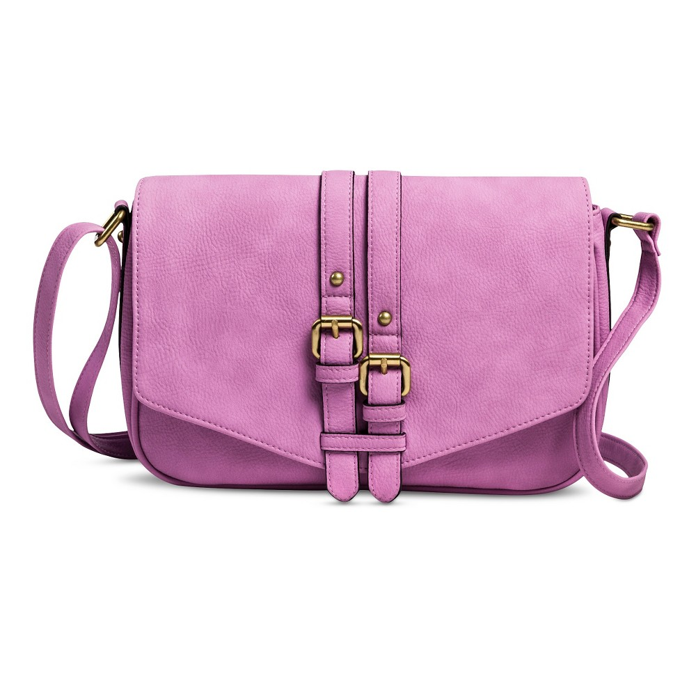 Women's Vertical Buckles Crossbody Handbag - Lilac (Purple)