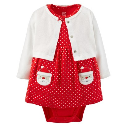You made by carter s 174 newborn girls 2 piece santa dress set red