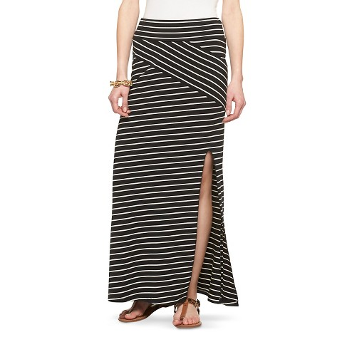 side split stripe maxi skirt black white mossimo target