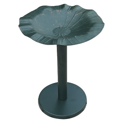 leisurelife™ Lotus Leaf BIRD BATH with Solid Cast Aluminium Bowl and metal stand