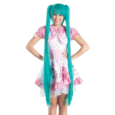Turquoise Long Cosplay Wig With Pigtails